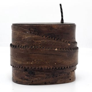 Antique Birch Bark Lidded Box With Leather Pull Preview
