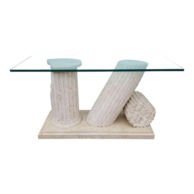 1970s Hollywood Regency Column Broken Console Table For Sale