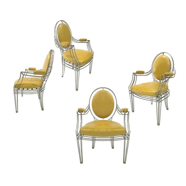 Casamidy Leather and Iron 'Opera' Armchairs - Set of 4 For Sale
