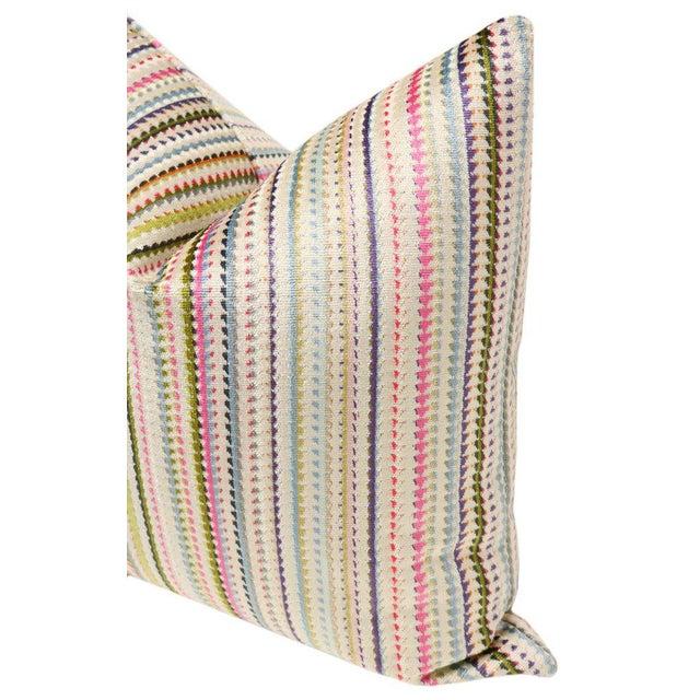 "22"" Multicolor Cut Velvet Pillow Cover For Sale - Image 4 of 5"