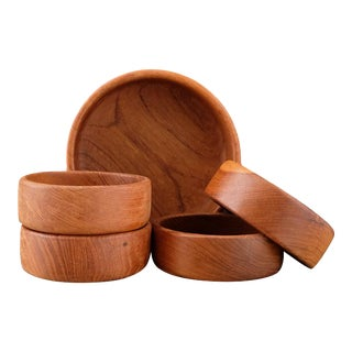 Teak Salad Bowl Set - Set of 5 For Sale