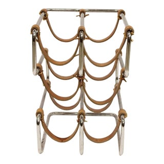 1960's Vintage Chrome and Leather Wine Rack For Sale