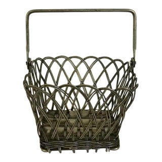 19th Century Hand Worked French Silver Plate Bread Basket For Sale