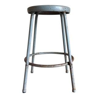 Vintage Industrial Grey Metal Stool