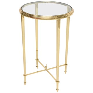 1960s Neoclassical Revival Round Brass Side Table For Sale