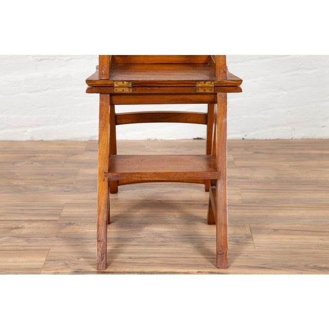 Vintage Dutch Colonial Metamorphic Teak Step Ladder Folding Side Chair For Sale - Image 12 of 13