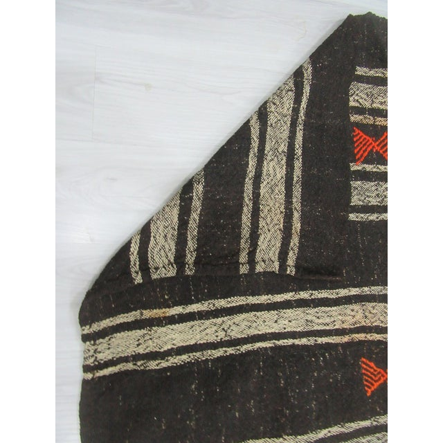 1960s 1960's Vintage Kilim Black & Gray Striped Rug- 9′10″ × 10′ For Sale - Image 5 of 6