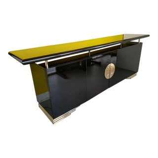Vintage Asian Style Black Lacquer Sideboard