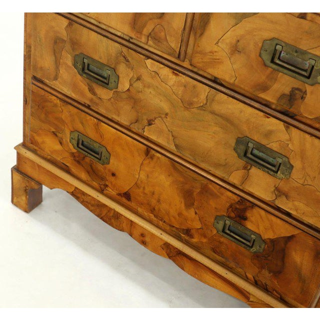 Campaign Style Patch Burl Olive Wood Small Bachelor Chest Dresser Cabinet For Sale - Image 9 of 13
