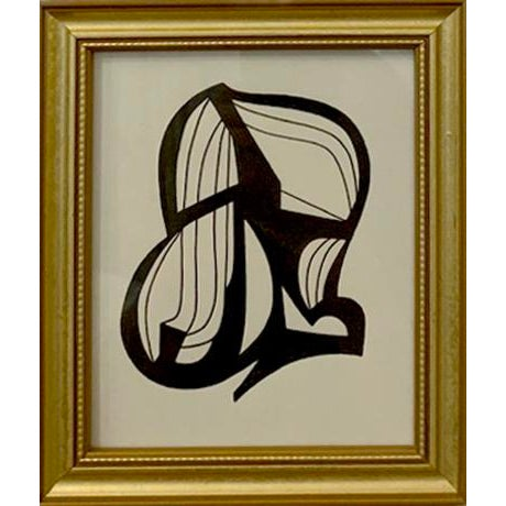 Original pen drawing on paper framed in a carved gold frame. Wired and ready to hang, 6.5 in. wide x 7 in. high