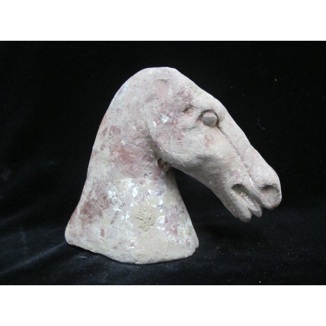 19th Century Primitive Chinese Burial Horse Head Clay Tomb Sculpture - Set of 2 For Sale - Image 5 of 9