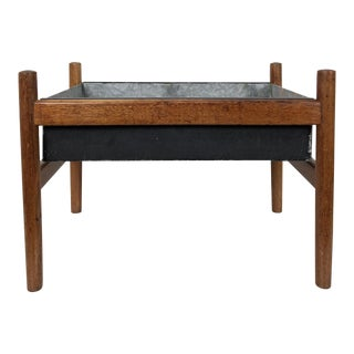 1960's Spottrup Scandinavian Teak & Black Metal Planter Box