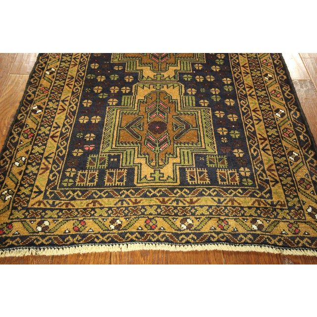 "Navy & Tan Balouch Runner Rug - 2'11"" x 9'9"" - Image 8 of 10"