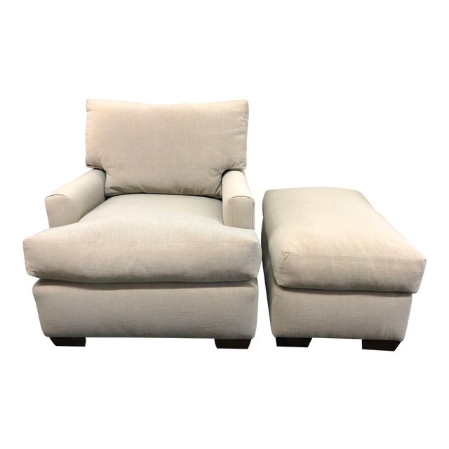 Contemporary Custom Armchair & Ottoman For Sale