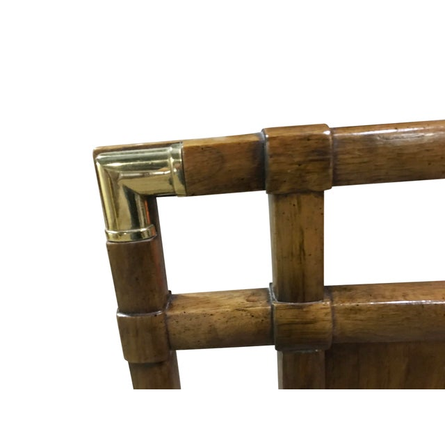 Modern Vintage Walnut and Brass Campaign Headboard by Drexel Queen Size For Sale - Image 3 of 10