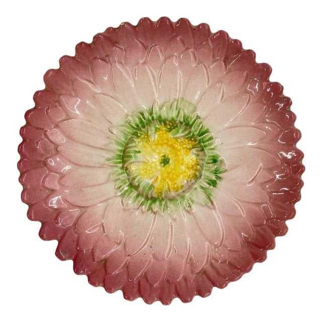French Majolica Trompe l'Oeil Pink Sunflower Plate, Delphin Massier, Circa 1870 For Sale