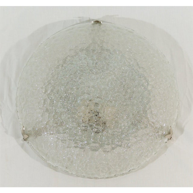 Textured Flush Mount with Chrome Hardware by Hustadt Leuchten For Sale In New York - Image 6 of 9