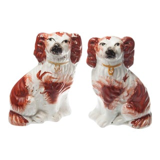 Pair of Staffordshire Porcelain Spaniel Figurines