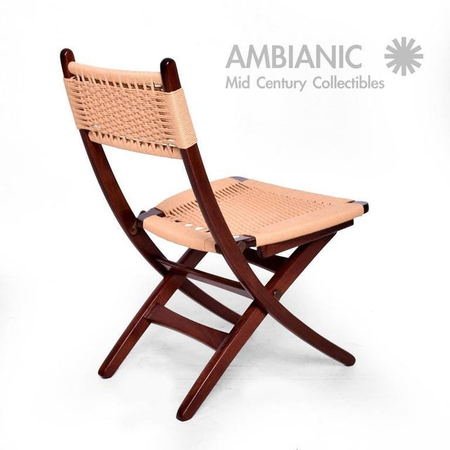Tan Mid-Century Danish Modern Rope Folding Chair For Sale - Image 8 of 9