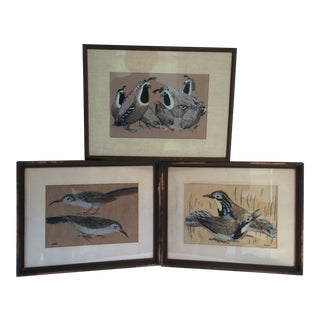 Set of 3 Framed Bird Seriographs by Roger Kuntz For Sale