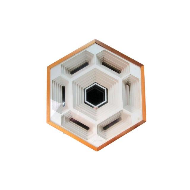 Original Greg Copeland hexagonal sculpture is beautiful on several levels, literally. Six layers of hand-cut matting...