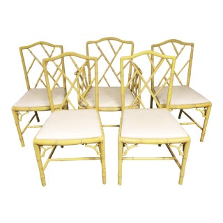 Mid Century Yellow Faux Bamboo Dining Chairs - Set of 5
