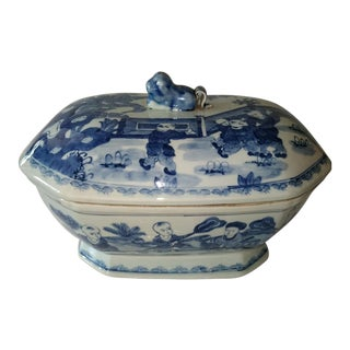 Canton Blue & White Covered Tureen For Sale