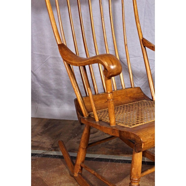 American Spindle Back Caned Seat Rocking Chair For Sale - Image 3 of 11