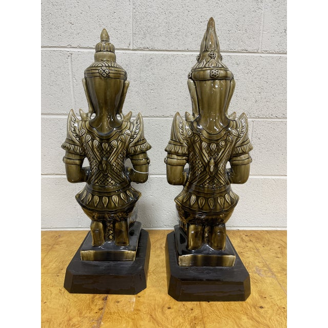 Large Ceramic Mottled Green Buddha's on Stands- a Pair For Sale - Image 4 of 12