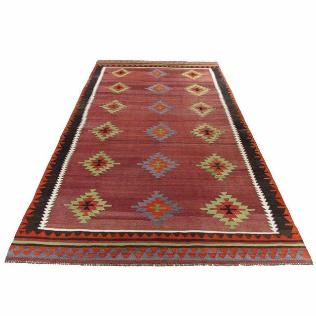 Maroon Vintage Turkish Kilim - 6'' x 10'9'' - Image 2 of 5
