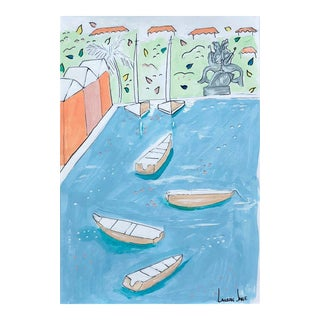 Lauren Jane Mermaid Isle In Green Contemporary Painting For Sale