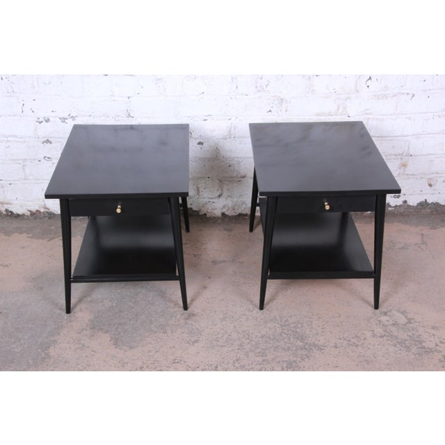 Contemporary Paul McCobb Planner Group Ebonized Nightstands or End Tables, Pair For Sale - Image 3 of 13
