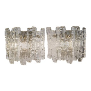 1960s Sierra Ice Glass Wall Sconces with Nickel Tone Backplate by Kalmar Franken KG - a Pair For Sale