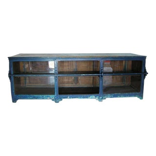 Antique Painted Blue Shop Counter With Glass Front For Merchandise Display For Sale