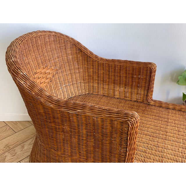 1990s Vintage Wicker Chaise For Sale - Image 10 of 11