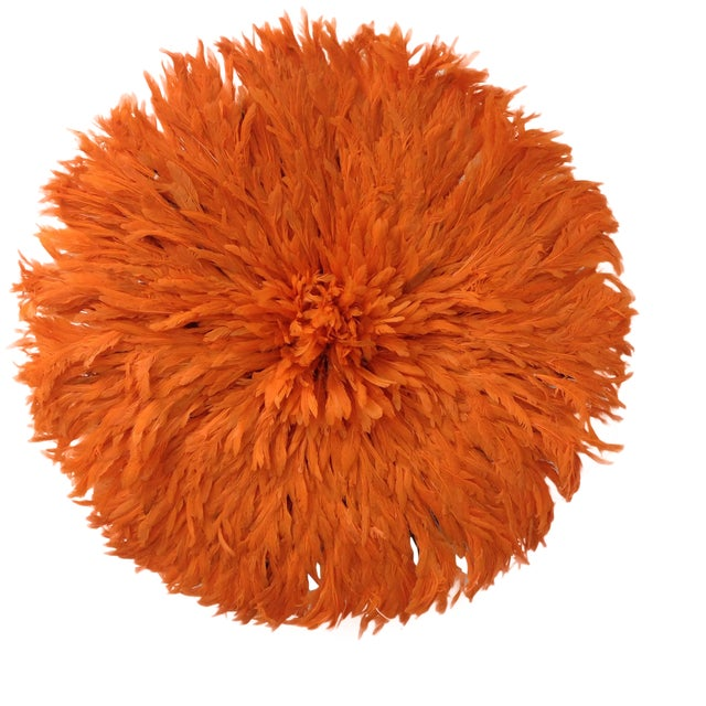 Authentic Tangerine Cameroon Juju Hat For Sale