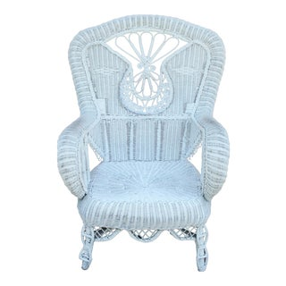 1990s Vintage White Wicker Peacock Armchair For Sale
