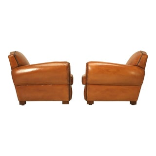 French 1930s Art Deco Leather Club Chairs - a pair For Sale