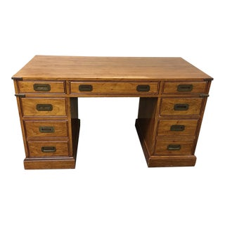1970s Mt Air Furniture Campaign Desk For Sale