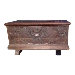 19th Century Carved Oak Trunk