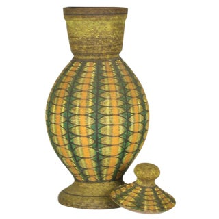 Aldo Londi for Bitossi Geometric Decorated Lidded Ceramic Jar For Sale
