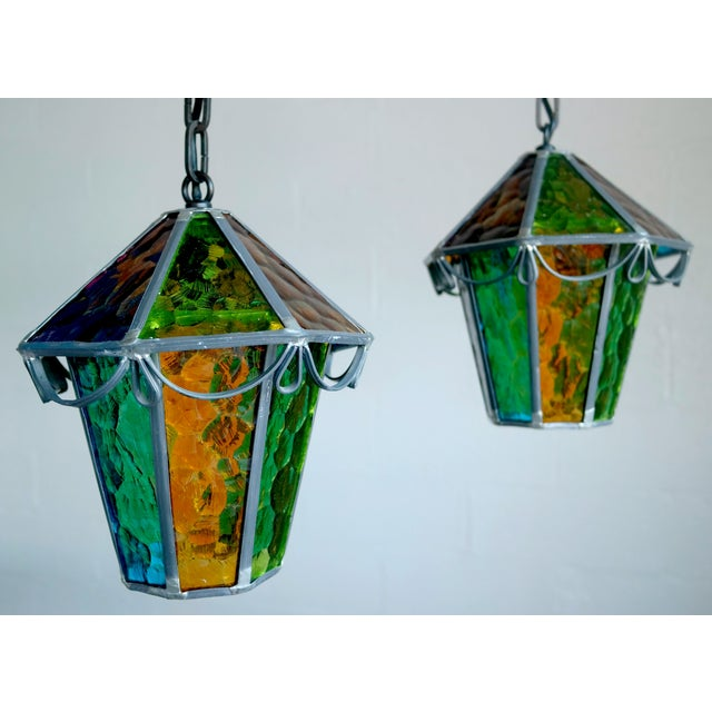 Danish Cast Iron & Multicolor Glass Pendants- Pair - Image 2 of 7