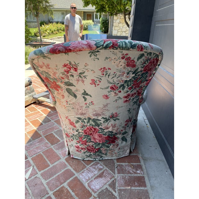1980's Chintz Custom Fabric Arm Chair For Sale - Image 4 of 6