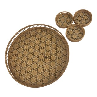 Vintage Boho Wicker Drink Tray and Coasters - 4 Piece Set For Sale