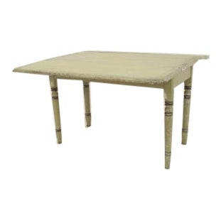 American Country Rustic Style (19th Cent) Rectangular Antique Green Painted Drop Leaf Table Dining For Sale