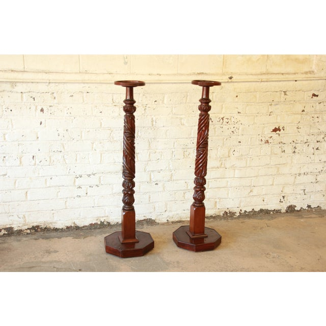 Victorian 19th Century Carved Mahogany Plant Stands - a Pair For Sale - Image 3 of 9