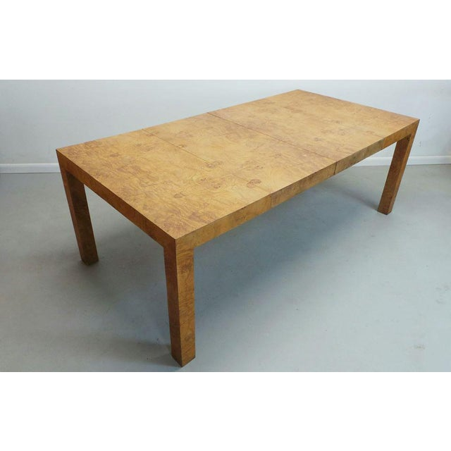 Mid Century Modern Milo Baughman Thayer Coggin Olive Burlwood Parsons Dining Table With 2 Leafs For Sale - Image 11 of 11