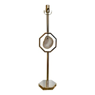 Modern Agate and Nickel Buffet Lamp For Sale