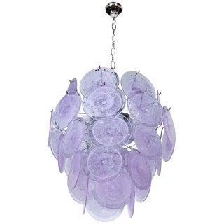 Modernist Handblown Murano Tranluscent Lavender Four-Tier Disc Chandelier For Sale