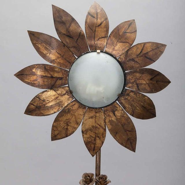 1930's Spanish Gilt Metal Sunflower Floor Lamp - Image 6 of 7